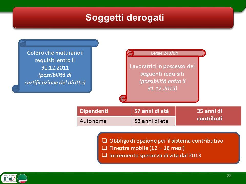 28 Soggetti derogati Coloro che maturano i requisiti entro il 31.12.2011 (possibilità di certificazione del diritto) Lavoratrici in possesso dei segue