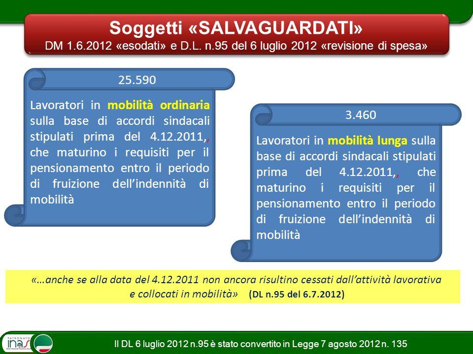 Il DL 6 luglio 2012 n.95 è stato convertito in Legge 7 agosto 2012 n. 135 Soggetti «SALVAGUARDATI» DM 1.6.2012 «esodati» e D.L. n.95 del 6 luglio 2012