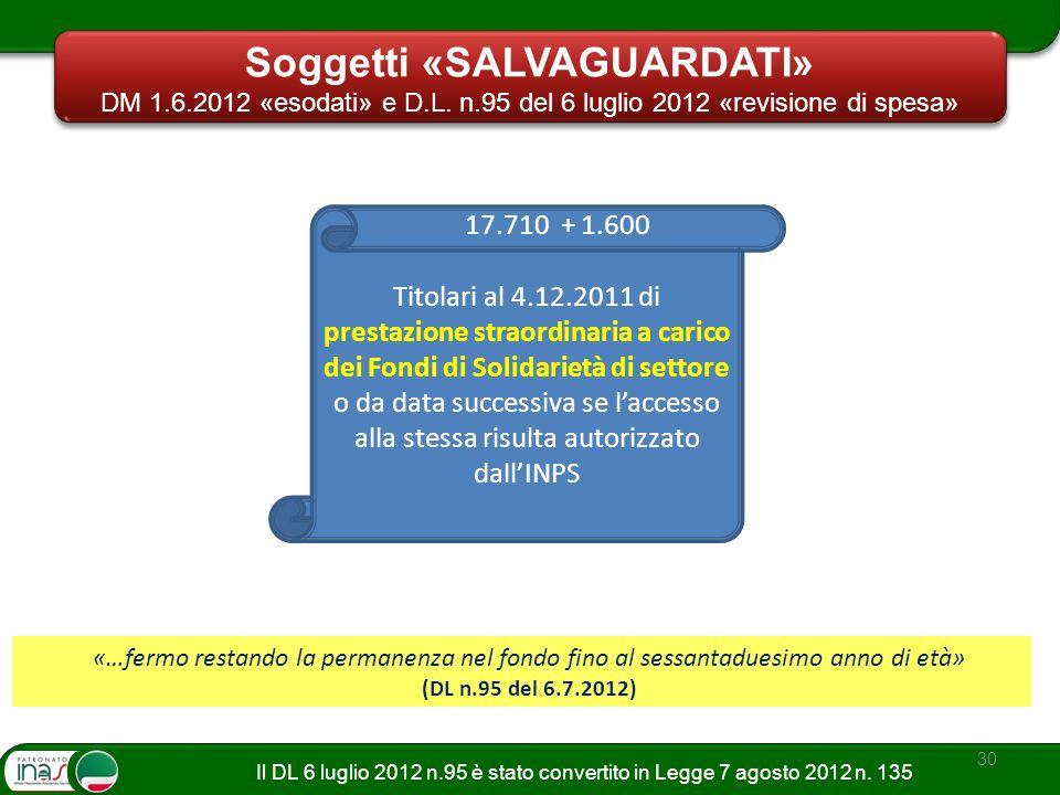 30 Titolari al 4.12.2011 di prestazione straordinaria a carico dei Fondi di Solidarietà di settore o da data successiva se laccesso alla stessa risult