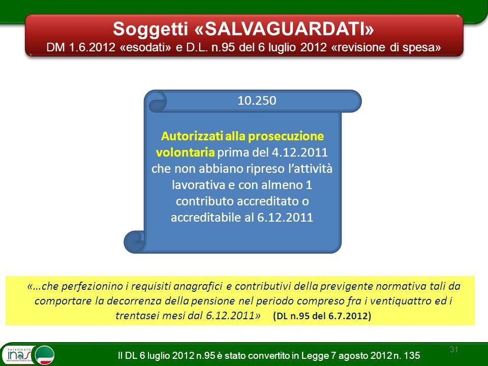 31 Autorizzati alla prosecuzione volontaria prima del 4.12.2011 che non abbiano ripreso lattività lavorativa e con almeno 1 contributo accreditato o a