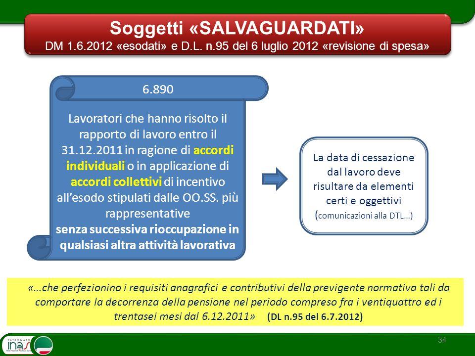 34 Lavoratori che hanno risolto il rapporto di lavoro entro il 31.12.2011 in ragione di accordi individuali o in applicazione di accordi collettivi di