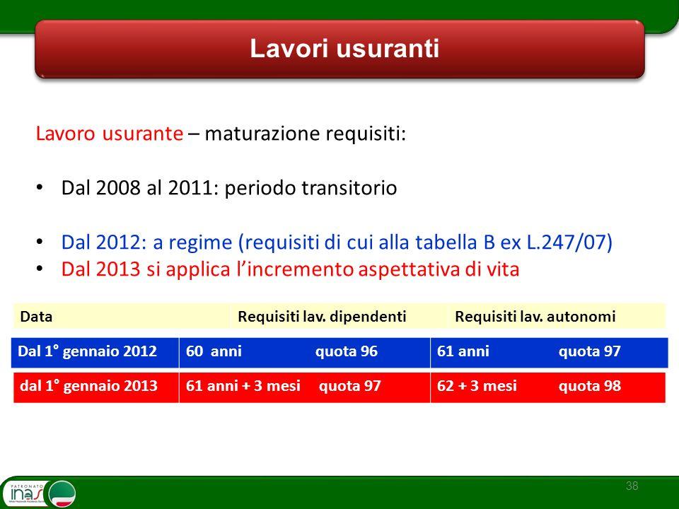 38 Lavori usuranti Lavoro usurante – maturazione requisiti: Dal 2008 al 2011: periodo transitorio Dal 2012: a regime (requisiti di cui alla tabella B