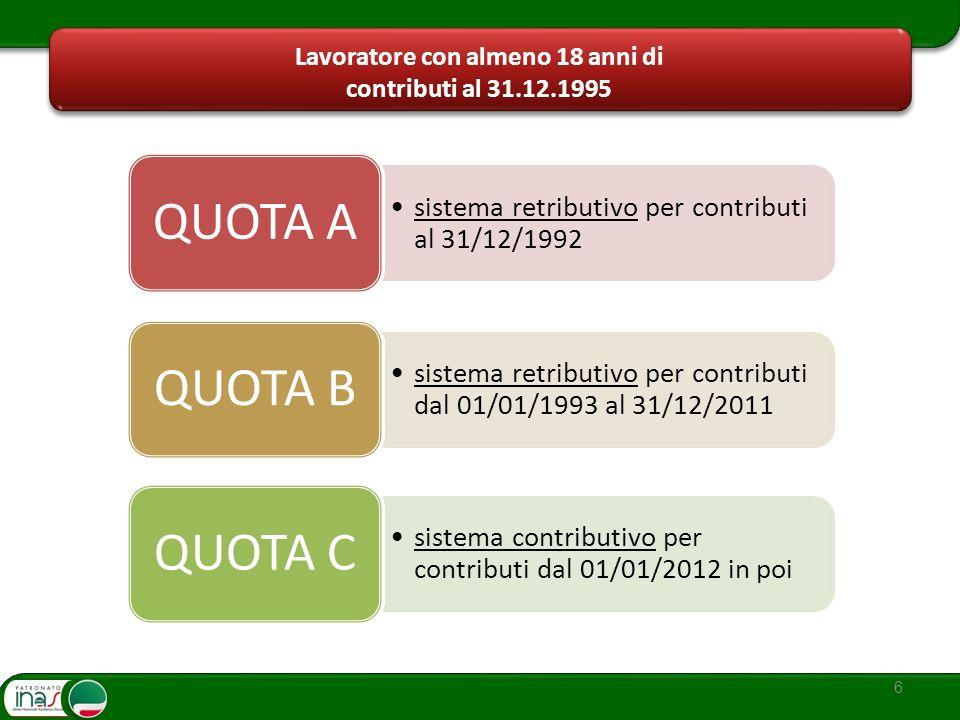 6 Lavoratore con almeno 18 anni di contributi al 31.12.1995 sistema retributivo per contributi dal 01/01/1993 al 31/12/2011 QUOTA B sistema retributiv