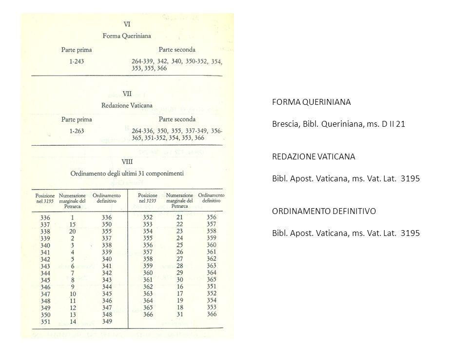 FORMA QUERINIANA Brescia, Bibl. Queriniana, ms. D II 21 REDAZIONE VATICANA Bibl. Apost. Vaticana, ms. Vat. Lat. 3195 ORDINAMENTO DEFINITIVO Bibl. Apos