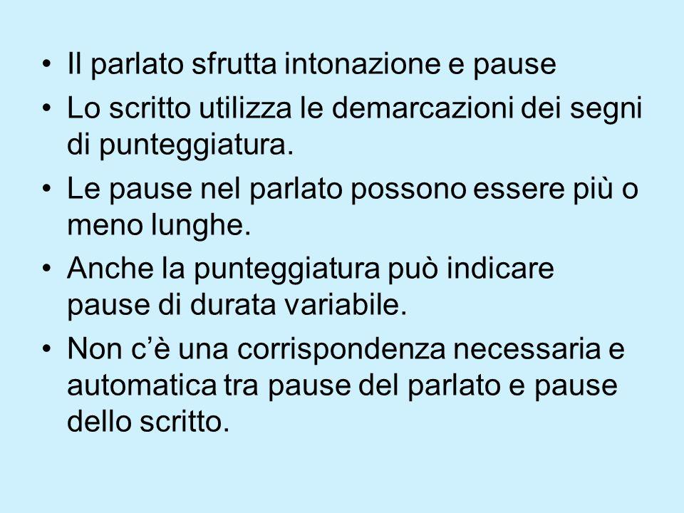Pause dello scritto Le pause dello scritto sono: –Pausa forte (punto) –Pausa media (punto e virgola) –Pausa debole (virgola)