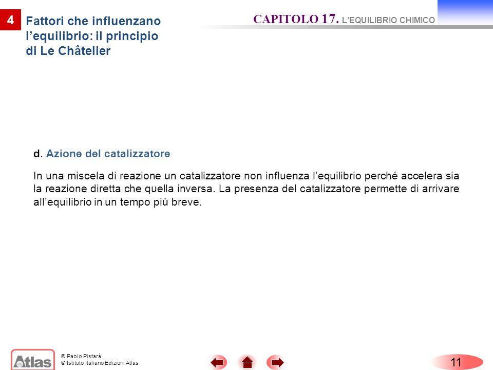 © Paolo Pistarà © Istituto Italiano Edizioni Atlas 11 4 Fattori che influenzano lequilibrio: il principio di Le Châtelier CAPITOLO 17. LEQUILIBRIO CHI