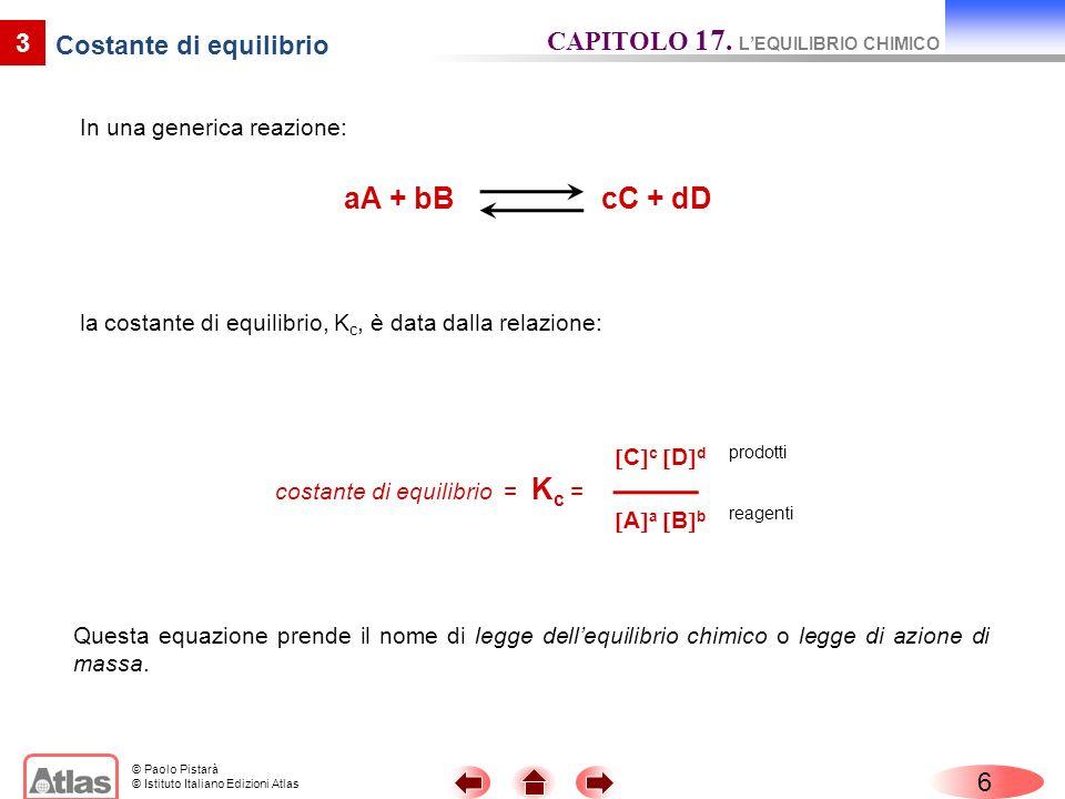 © Paolo Pistarà © Istituto Italiano Edizioni Atlas In una generica reazione: 6 3 Costante di equilibrio CAPITOLO 17. LEQUILIBRIO CHIMICO aA + bB cC +