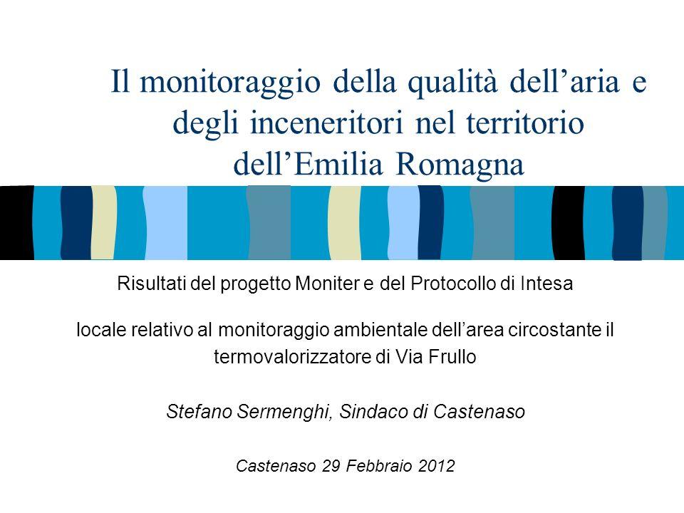 Il monitoraggio della qualità dellaria e degli inceneritori nel territorio dellEmilia Romagna Risultati del progetto Moniter e del Protocollo di Intesa locale relativo al monitoraggio ambientale dellarea circostante il termovalorizzatore di Via Frullo Stefano Sermenghi, Sindaco di Castenaso Castenaso 29 Febbraio 2012