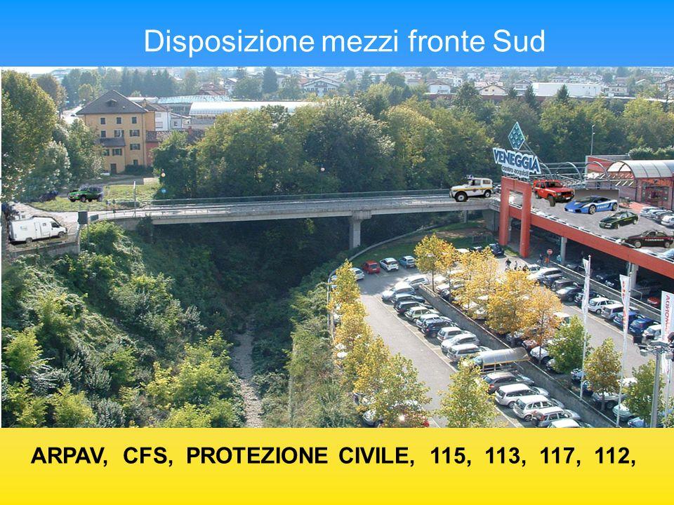 Disposizione mezzi fronte Sud ARPAV, CFS, PROTEZIONE CIVILE, 115, 113, 117, 112,