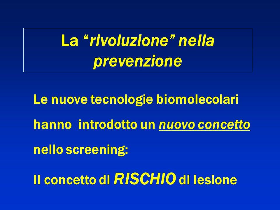 Le nuove tecnologie biomolecolari hanno introdotto un nuovo concetto nello screening: Il concetto di RISCHIO di lesione La rivoluzione nella prevenzio