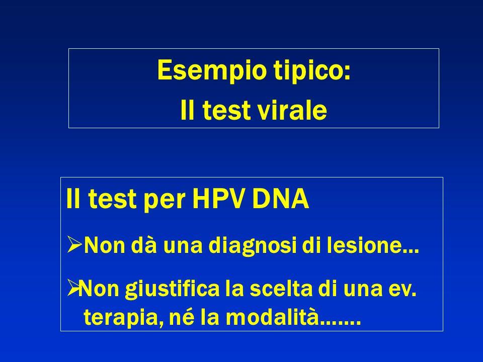 Esempio tipico: Il test virale Il test per HPV DNA Non dà una diagnosi di lesione… Non giustifica la scelta di una ev. terapia, né la modalità…….