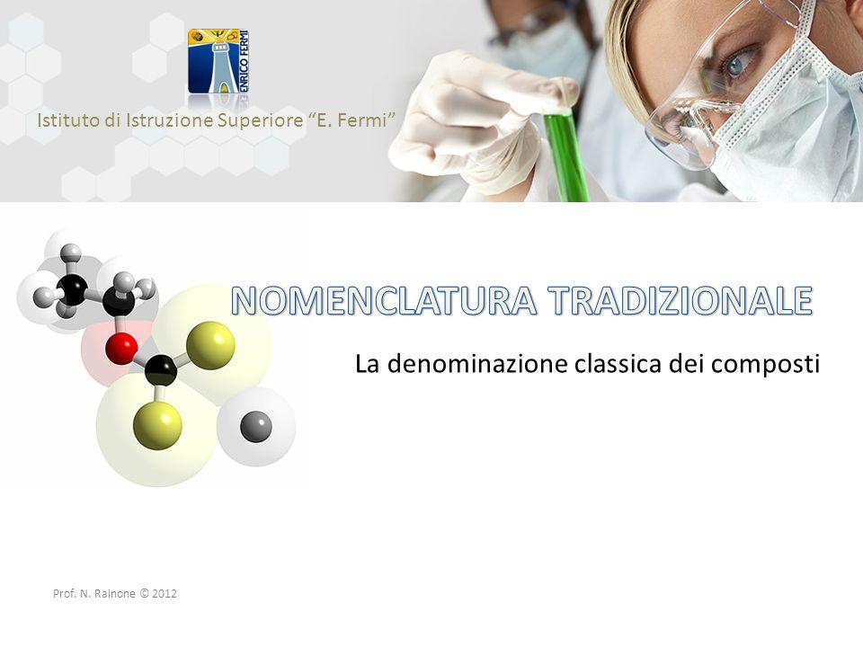 La denominazione classica dei composti Istituto di Istruzione Superiore E. Fermi Prof. N. Rainone © 2012