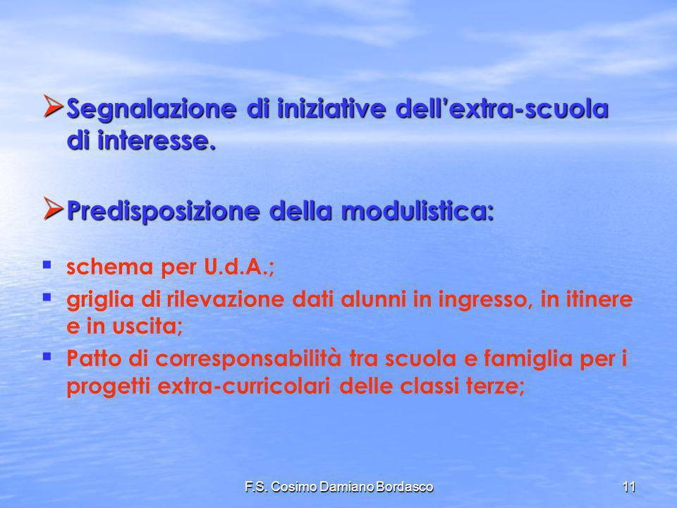 F.S. Cosimo Damiano Bordasco11 Segnalazione di iniziative dellextra-scuola di interesse. Segnalazione di iniziative dellextra-scuola di interesse. Pre