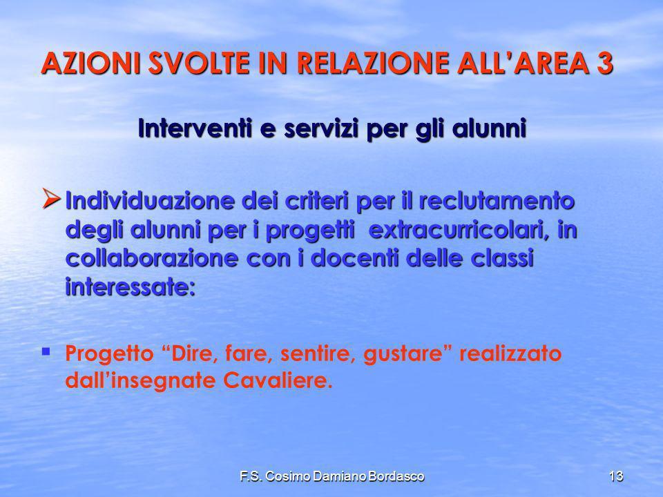 F.S. Cosimo Damiano Bordasco13 Interventi e servizi per gli alunni Individuazione dei criteri per il reclutamento degli alunni per i progetti extracur
