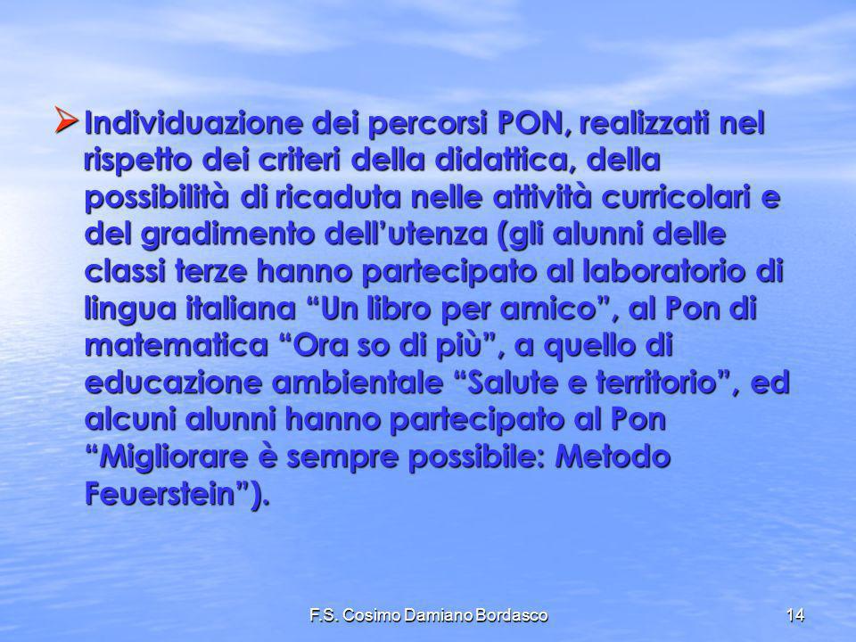 F.S. Cosimo Damiano Bordasco14 Individuazione dei percorsi PON, realizzati nel rispetto dei criteri della didattica, della possibilità di ricaduta nel