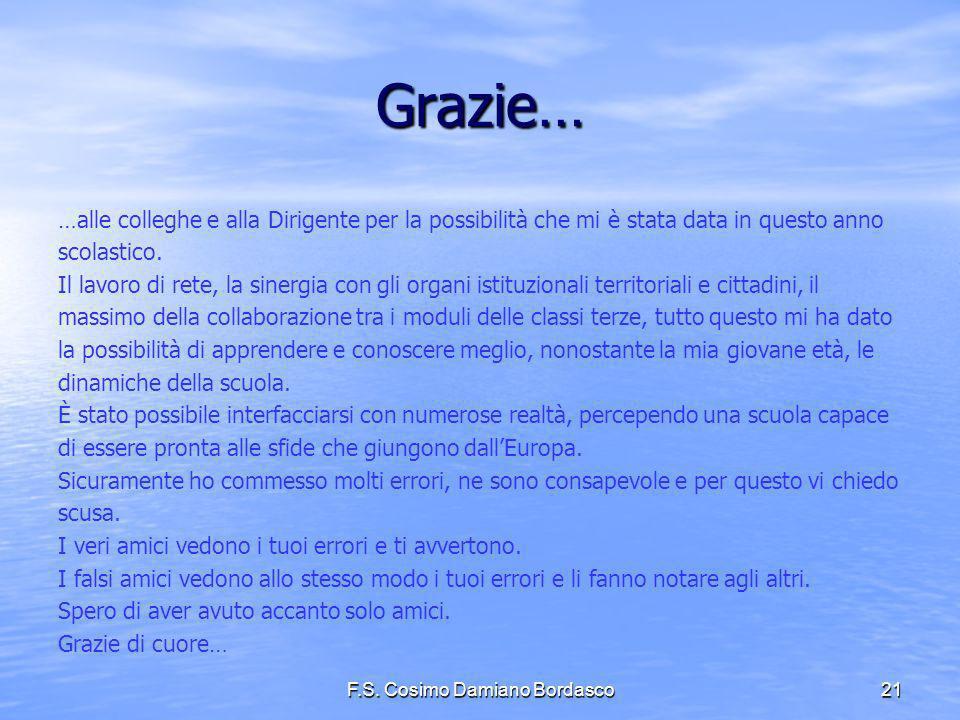 F.S. Cosimo Damiano Bordasco21 Grazie… …alle colleghe e alla Dirigente per la possibilità che mi è stata data in questo anno scolastico. Il lavoro di