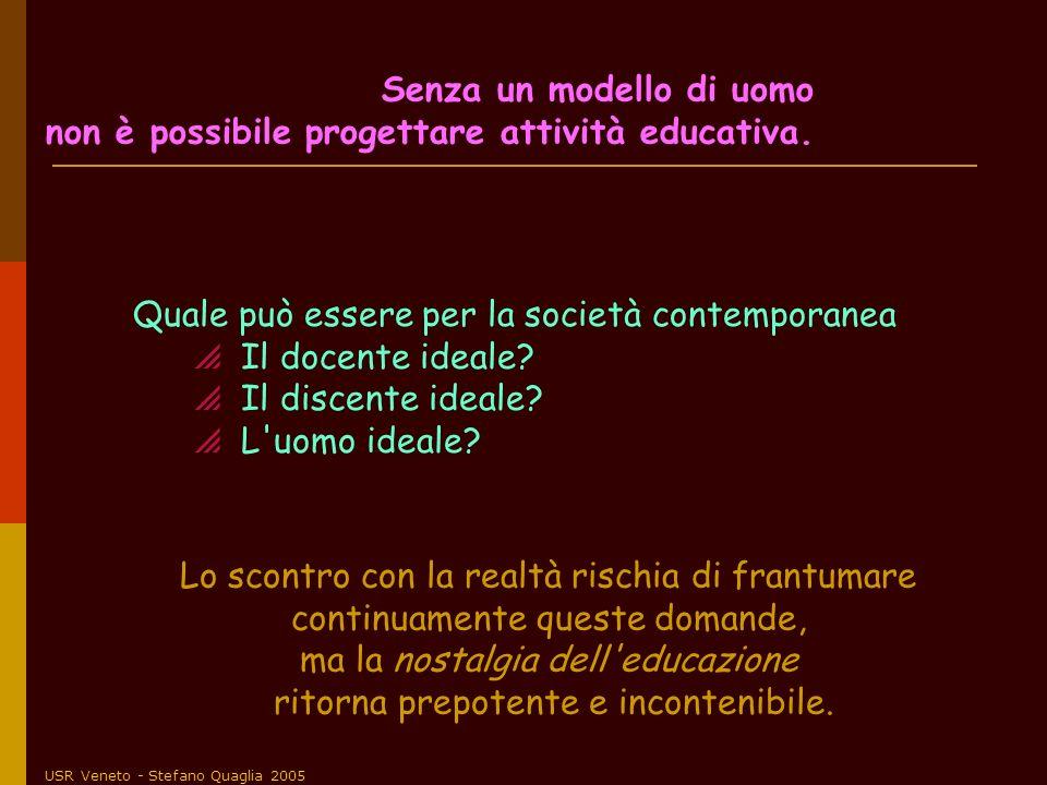 USR Veneto - Stefano Quaglia 2005 Quale può essere per la società contemporanea Il docente ideale? Il discente ideale? L'uomo ideale? Lo scontro con l