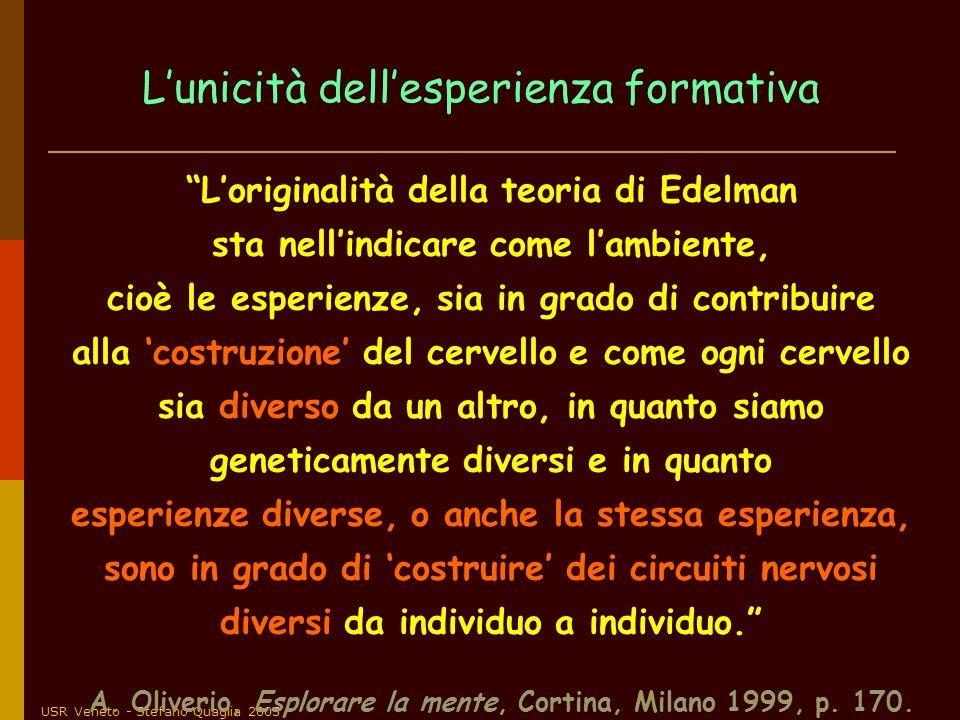 USR Veneto - Stefano Quaglia 2005 Loriginalità della teoria di Edelman sta nellindicare come lambiente, cioè le esperienze, sia in grado di contribuir