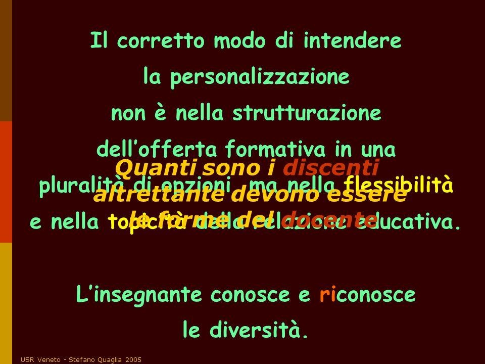 USR Veneto - Stefano Quaglia 2005 Il corretto modo di intendere la personalizzazione non è nella strutturazione dellofferta formativa in una pluralità