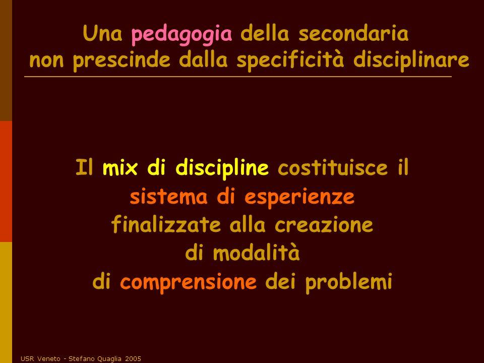 USR Veneto - Stefano Quaglia 2005 Una pedagogia della secondaria non prescinde dalla specificità disciplinare Il mix di discipline costituisce il sist