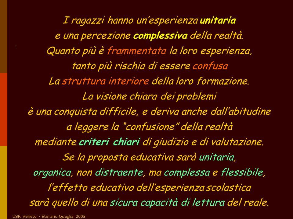 USR Veneto - Stefano Quaglia 2005 I ragazzi hanno unesperienza unitaria e una percezione complessiva della realtà. Quanto più è frammentata la loro es