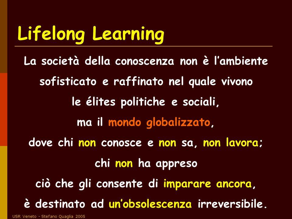 USR Veneto - Stefano Quaglia 2005 Lifelong Learning La società della conoscenza non è lambiente sofisticato e raffinato nel quale vivono le élites pol