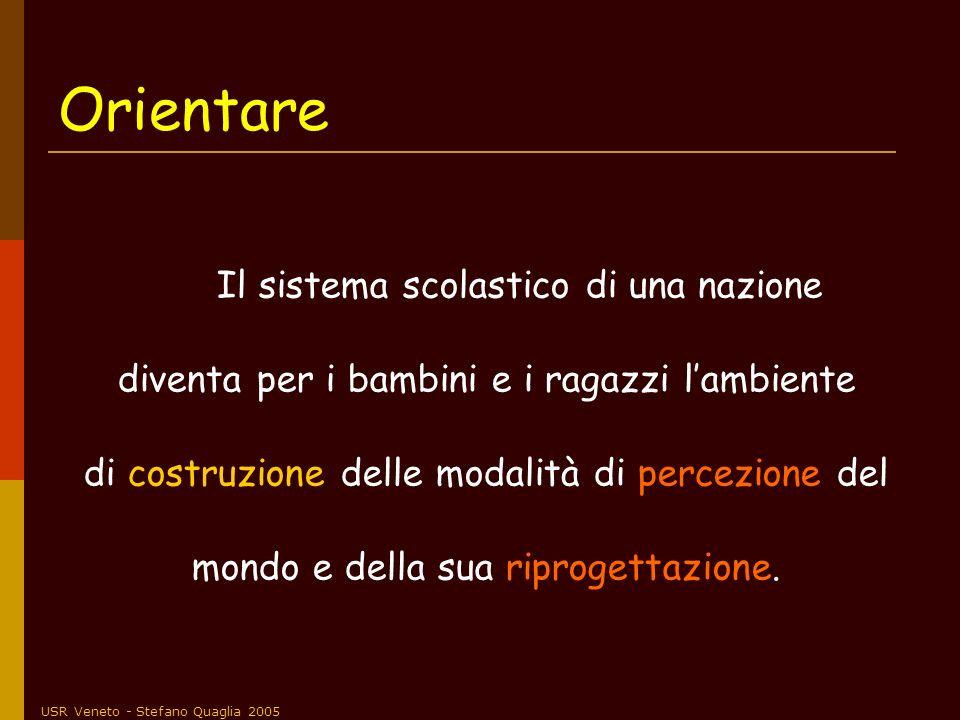 USR Veneto - Stefano Quaglia 2005 Orientare Il sistema scolastico di una nazione diventa per i bambini e i ragazzi lambiente di costruzione delle moda
