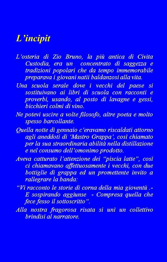 Lincipit Losteria di Zio Bruno, la più antica di Civita Custodia, era un concentrato di saggezza e tradizioni popolari che da tempo immemorabile preparava i giovani natii baldanzosi alla vita.