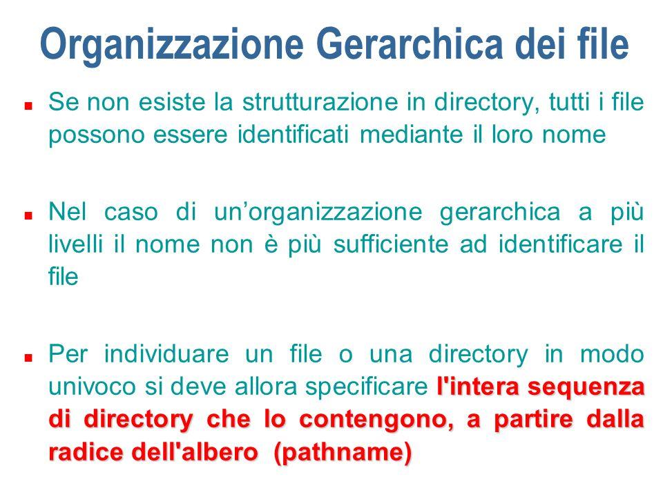 Organizzazione Gerarchica dei file n Ad esempio il file libro1 di narrativa italiana è univocamente identificato dalla sequenza:A:\Biblioteca\Narrativa-Ita\libro1 n La directory Pautasso di Utenti è identificata dalla sequenza:A:\Utenti\Pautasso n il carattere \ (slash) viene usato come separatore; nei sistemi Uix si usa il carattere /