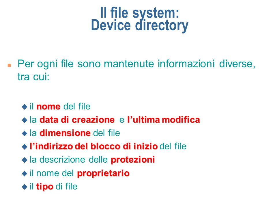 Il file system: Device directory n Per ogni directory sono mantenute informazioni diverse, tra cui: nome u il nome della directory data di creazione lultima modifica u la data di creazione e lultima modifica dimensione u la dimensione del file protezioni u la descrizione delle protezioni proprietario u il nome del proprietario elenco u l elenco dei file e delle sottodirectory