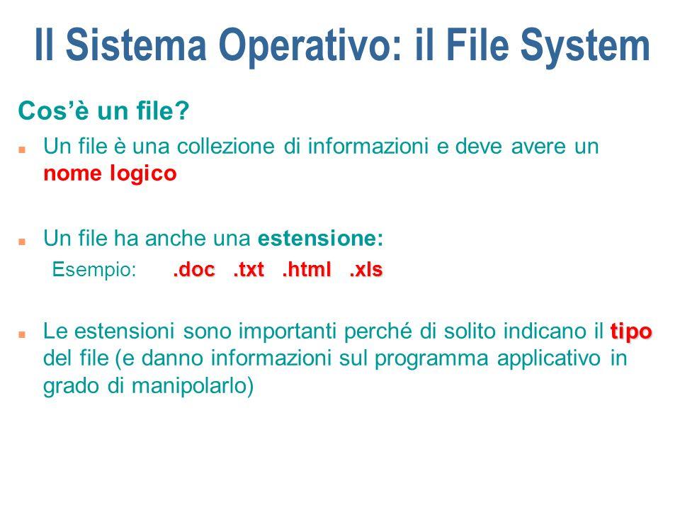 Il Sistema Operativo: il File System Nomi del file n Ogni Sistema Operativo ha delle convenzioni per la scelta dei nomi da associare ai file n Consigli: u E meglio usare nomi significativi: mio.doc, pippo.doc non sono una buona scelta!.