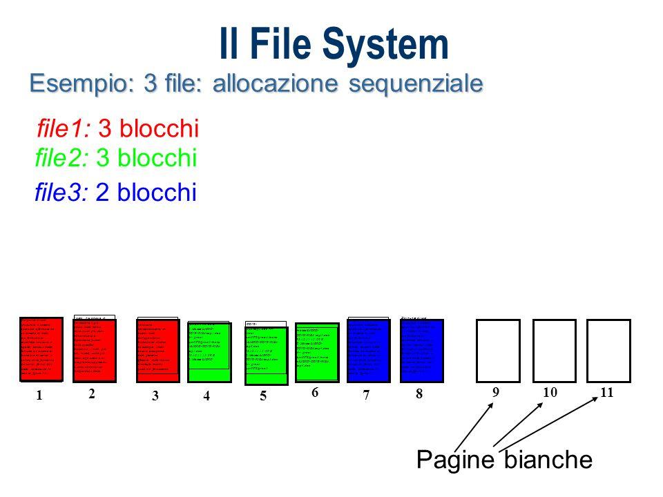 Il File System Esempio: 3 file: allocazione lista concatenata file1: blocchi 1 4 7 file2: 3 blocchi 2 3 6 file3: 2 blocchi 5 8 I livelli più bassi e, in particolare il più basso, detto kernel, sono quelli più vicini all hardware e dipendono quindi dalla specifica macchina; i livelli più alti, invece, sono più vicini agli utenti e ai programmi applicativi e sono abbastanza indipendenti dalle 2 caratteristiche hardware dell elaboratore.