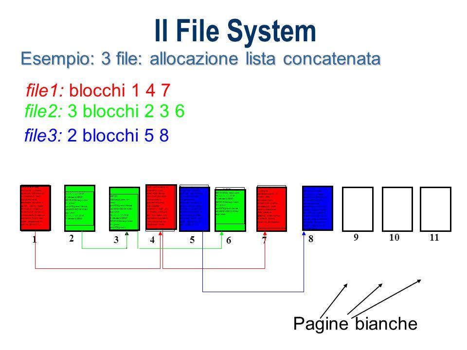 Il File System Esempio 3 file: allocazione con indice file1: blocchi 1 4 7 - blocco indice 9 file2: 3 blocchi 2 3 6 - blocco indice 10 file3: 2 blocchi 5 8 - blocco indice 11 I livelli più bassi e, in particolare il più basso, detto kernel, sono quelli più vicini all hardware e dipendono quindi dalla specifica macchina; i livelli più alti, invece, sono più vicini agli utenti e ai programmi applicativi e sono abbastanza indipendenti dalle 2 caratteristiche hardware dell elaboratore.