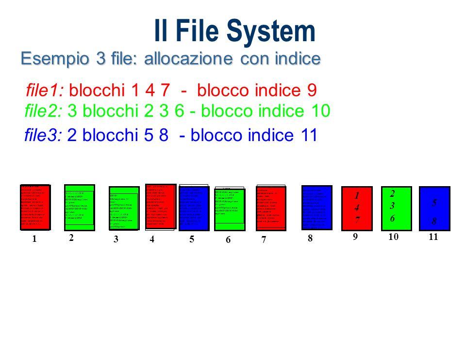 Il File System Esempio 3 file: allocazione con indice file1: blocchi 1 4 7 - blocco indice 9 file2: 3 blocchi 2 3 6 - blocco indice 10 file3: 2 blocch