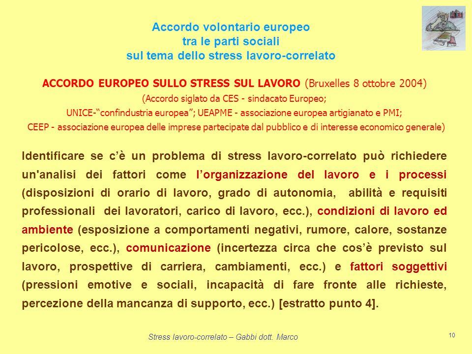 Stress lavoro-correlato – Gabbi dott. Marco 10 Accordo volontario europeo tra le parti sociali sul tema dello stress lavoro-correlato Identificare se