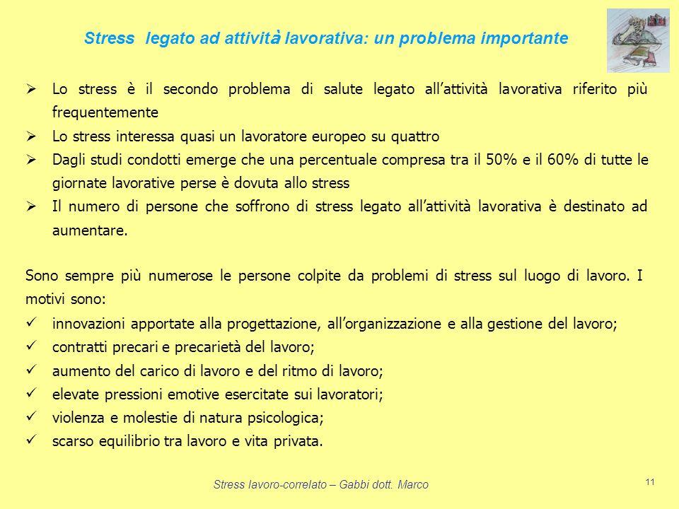 Stress lavoro-correlato – Gabbi dott. Marco 11 Lo stress è il secondo problema di salute legato allattività lavorativa riferito più frequentemente Lo