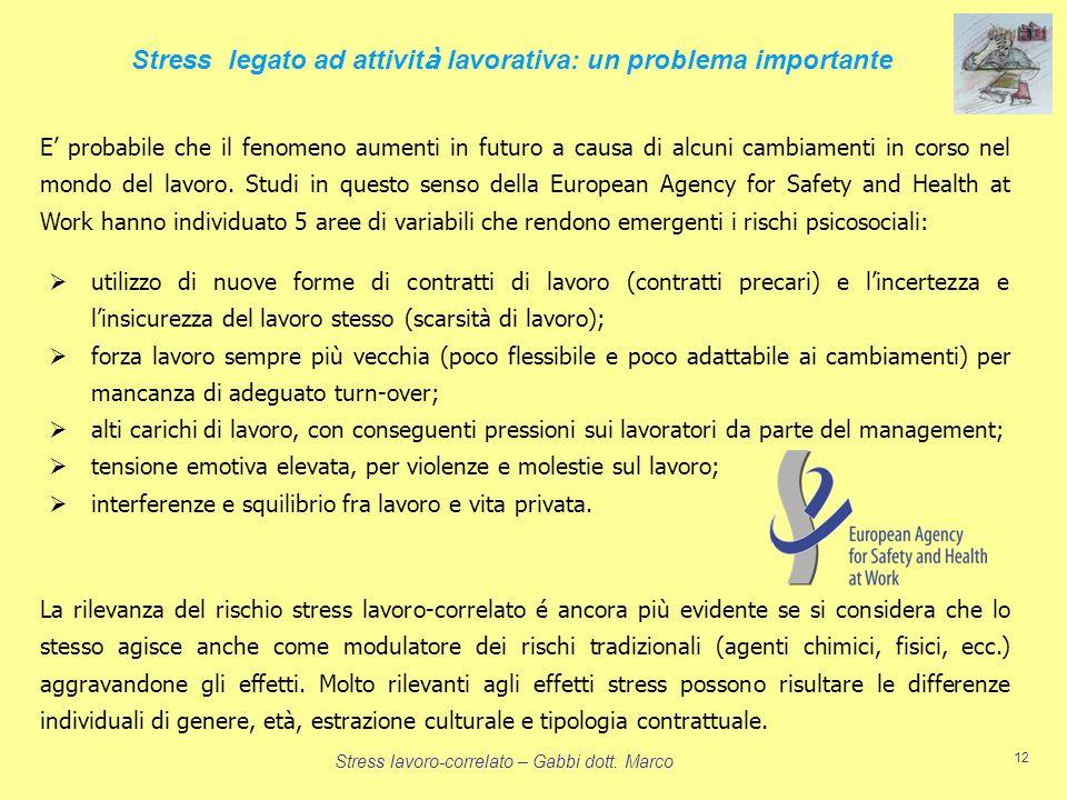 Stress lavoro-correlato – Gabbi dott. Marco 12 Stress legato ad attivit à lavorativa: un problema importante utilizzo di nuove forme di contratti di l