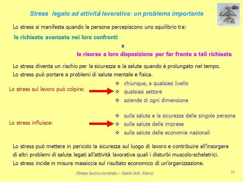 Stress lavoro-correlato – Gabbi dott. Marco 13 Lo stress diventa un rischio per la sicurezza e la salute quando è prolungato nel tempo. Lo stress può