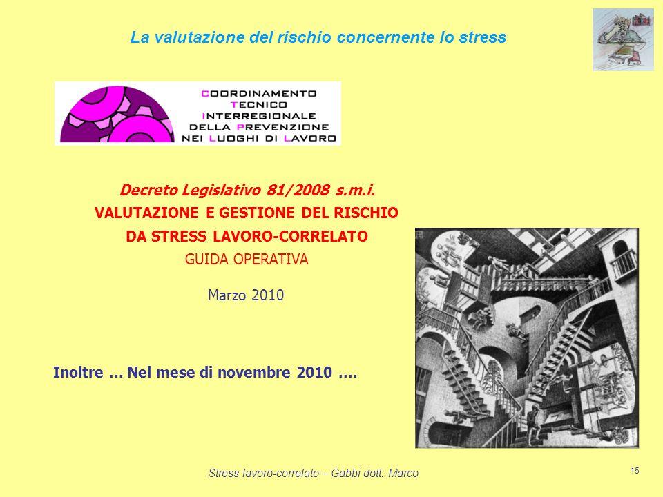 Stress lavoro-correlato – Gabbi dott. Marco 15 La valutazione del rischio concernente lo stress Decreto Legislativo 81/2008 s.m.i. VALUTAZIONE E GESTI