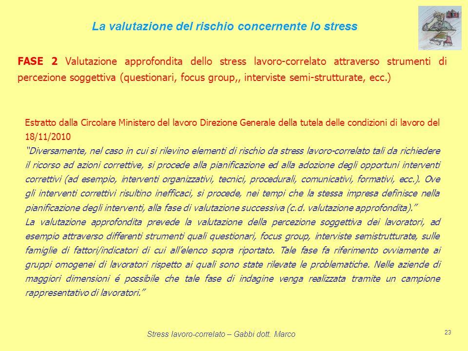 Stress lavoro-correlato – Gabbi dott. Marco 23 FASE 2 Valutazione approfondita dello stress lavoro-correlato attraverso strumenti di percezione sogget
