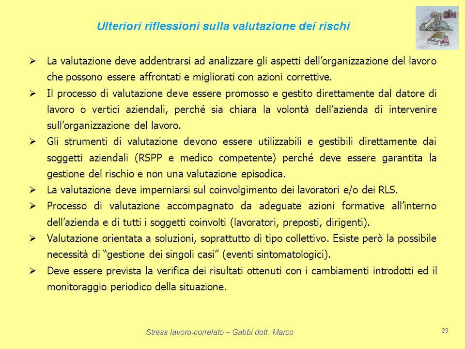 Stress lavoro-correlato – Gabbi dott. Marco 29 La valutazione deve addentrarsi ad analizzare gli aspetti dellorganizzazione del lavoro che possono ess