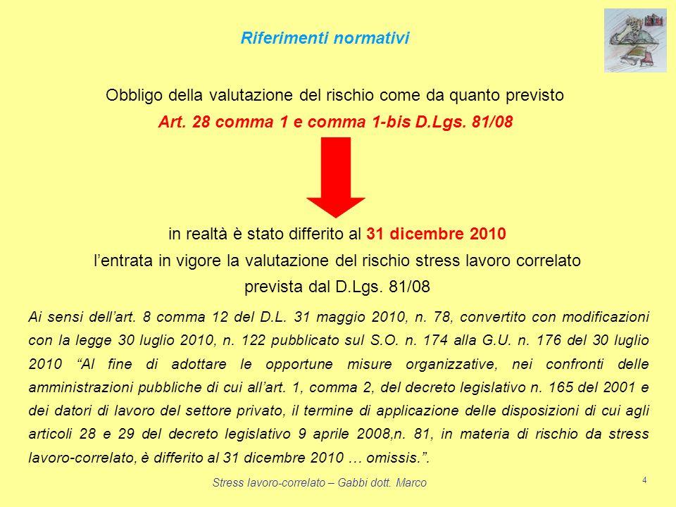 Stress lavoro-correlato – Gabbi dott. Marco 4 Obbligo della valutazione del rischio come da quanto previsto Art. 28 comma 1 e comma 1-bis D.Lgs. 81/08