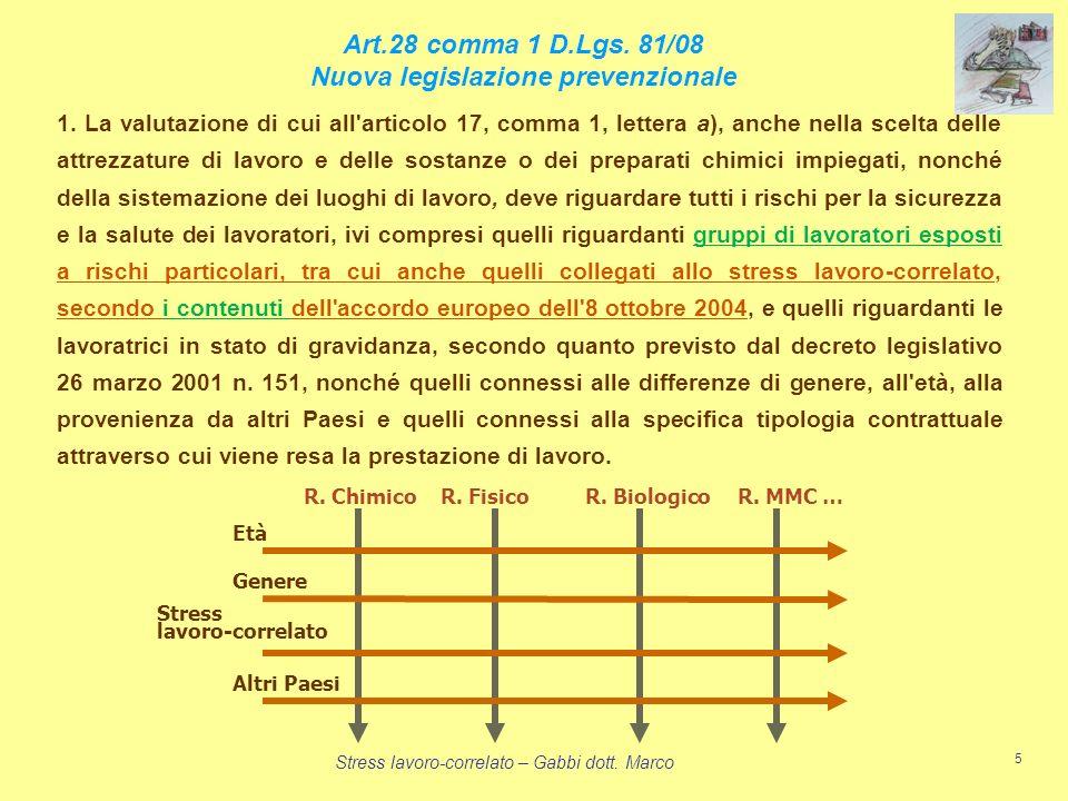Stress lavoro-correlato – Gabbi dott. Marco 5 Art.28 comma 1 D.Lgs. 81/08 Nuova legislazione prevenzionale 1. La valutazione di cui all'articolo 17, c