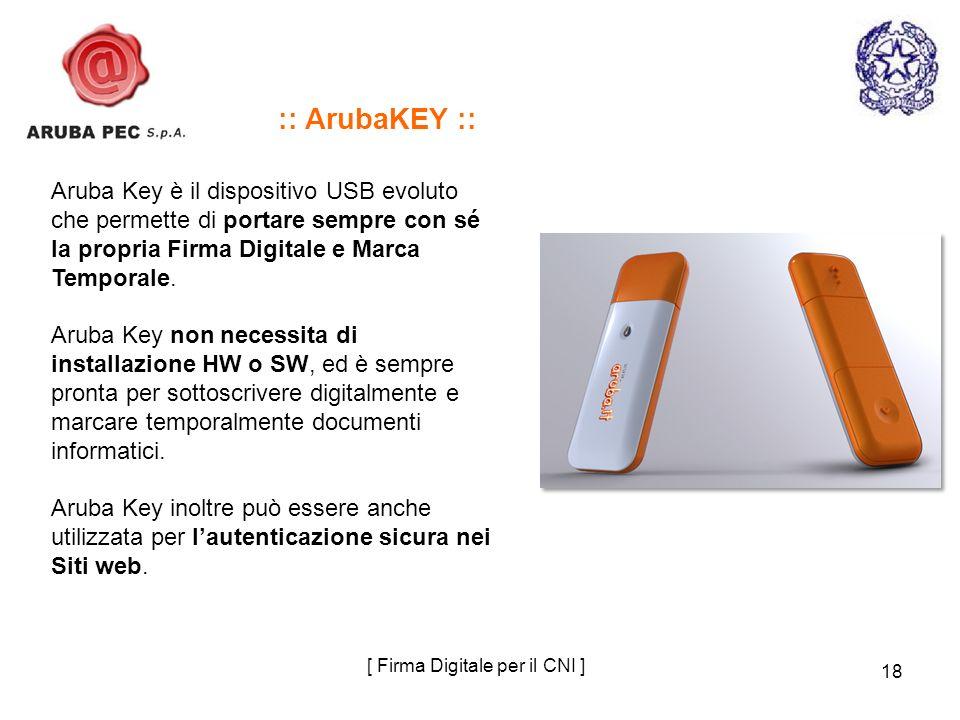 18 Aruba Key è il dispositivo USB evoluto che permette di portare sempre con sé la propria Firma Digitale e Marca Temporale. Aruba Key non necessita d