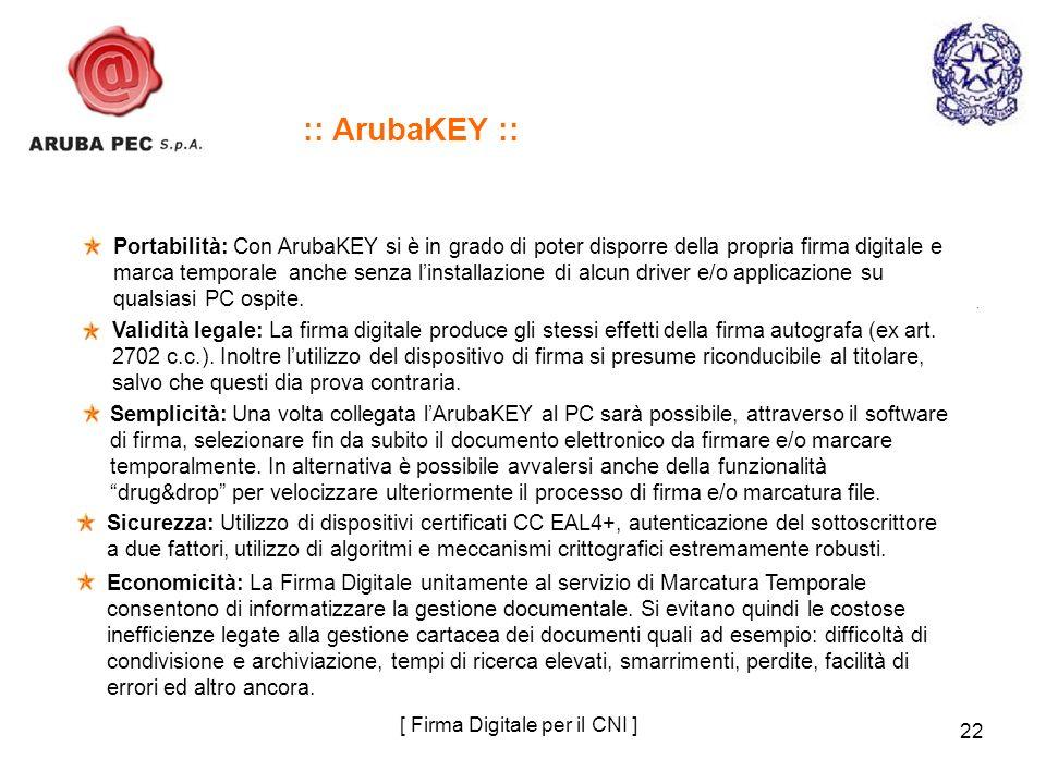 22 Portabilità: Con ArubaKEY si è in grado di poter disporre della propria firma digitale e marca temporale anche senza linstallazione di alcun driver