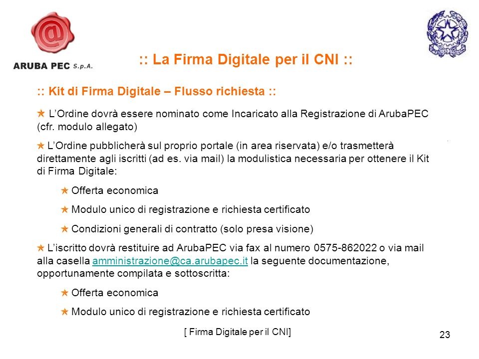 23 :: La Firma Digitale per il CNI :: :: Kit di Firma Digitale – Flusso richiesta :: LOrdine dovrà essere nominato come Incaricato alla Registrazione