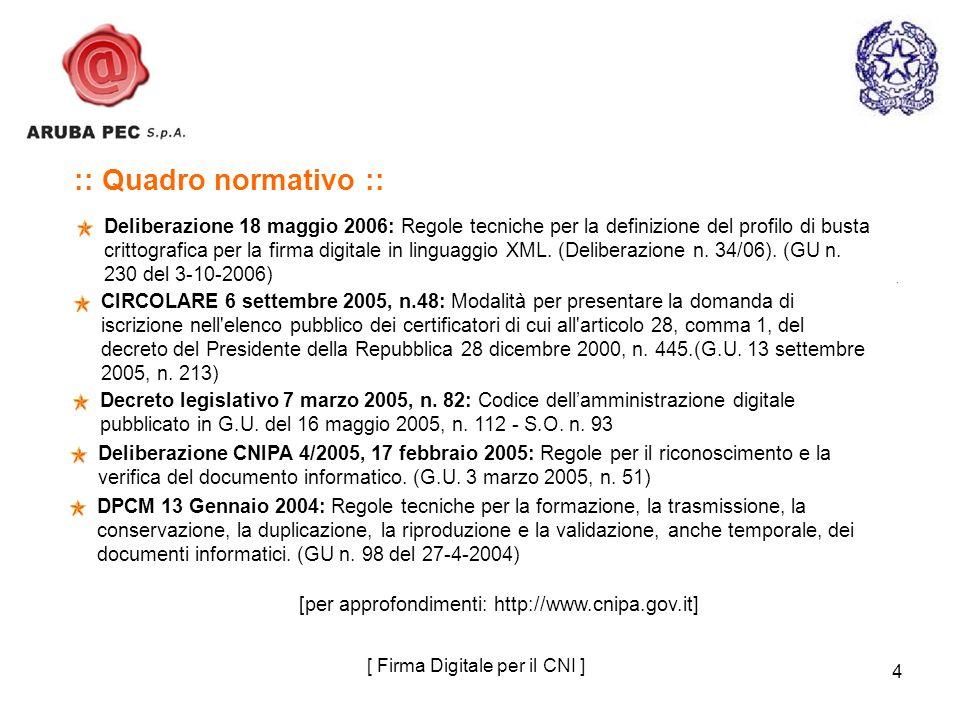 4 :: Quadro normativo :: Deliberazione 18 maggio 2006: Regole tecniche per la definizione del profilo di busta crittografica per la firma digitale in