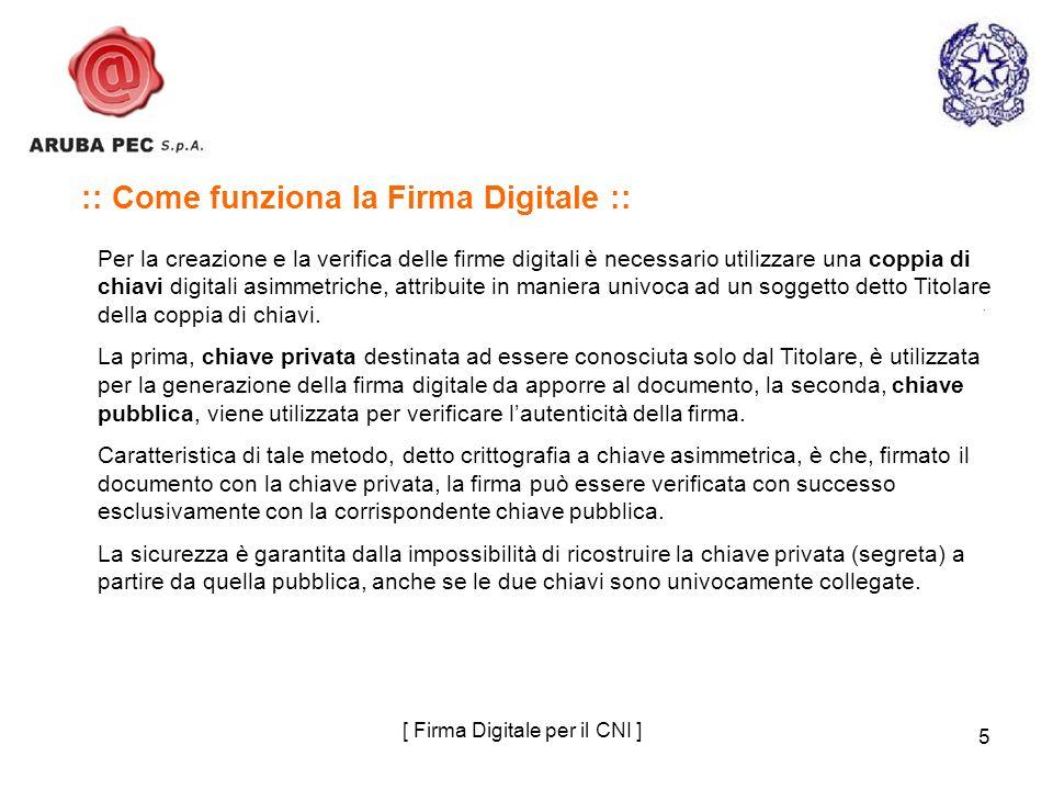 5 :: Come funziona la Firma Digitale :: Per la creazione e la verifica delle firme digitali è necessario utilizzare una coppia di chiavi digitali asim