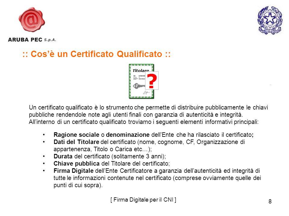 8 :: Cosè un Certificato Qualificato :: Un certificato qualificato è lo strumento che permette di distribuire pubblicamente le chiavi pubbliche renden
