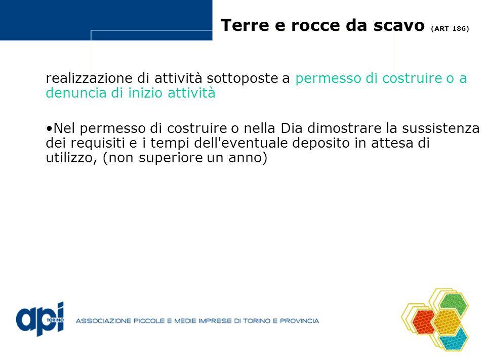 Terre e rocce da scavo (ART 186) realizzazione di attività sottoposte a permesso di costruire o a denuncia di inizio attività Nel permesso di costruir